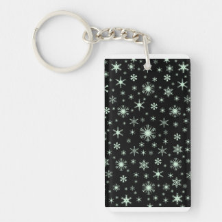 Snowflakes - Pastel Green on Black Acrylic Key Chains