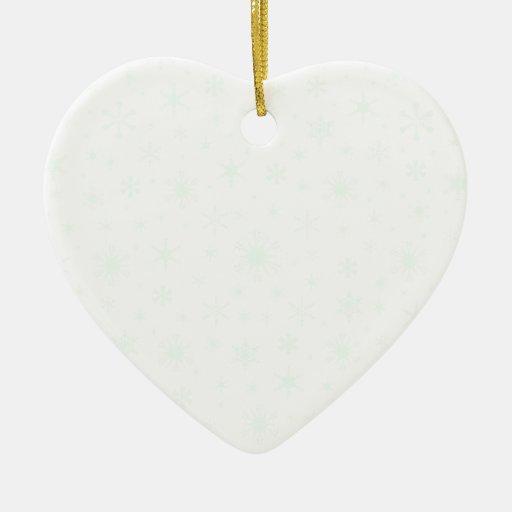 Snowflakes – Pastel Green on White Christmas Ornaments