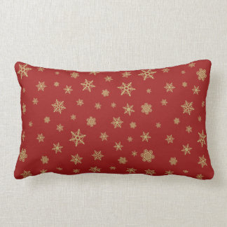Snowflakes Pattern Gold on Red Lumbar Cushion