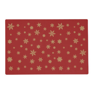 Snowflakes Pattern Gold on Red Placemat
