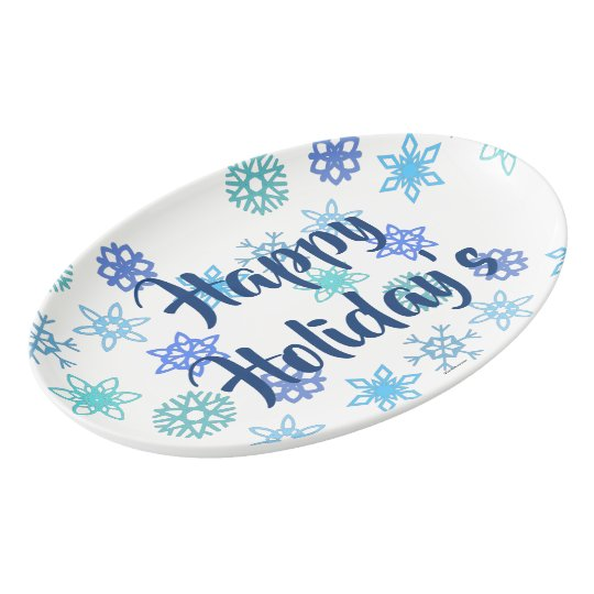 Snowflakes Pattern Happy Holiday's Serving Platter