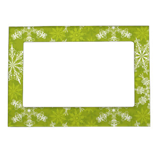Snowflakes Pattern on Green Magnetic Picture Frame