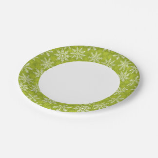 Snowflakes Pattern on Green Paper Plate