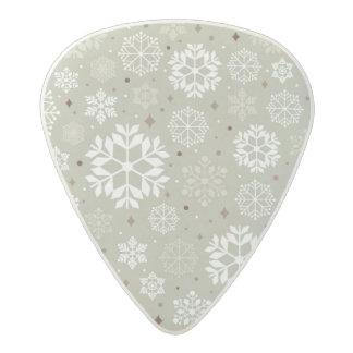 Snowflakes Pattern on Pastel Acetal Guitar Pick
