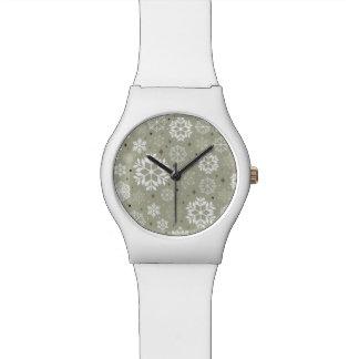 Snowflakes Pattern on Pastel Watch