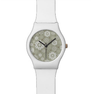Snowflakes Pattern on Pastel Wrist Watch