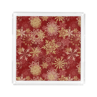 Snowflakes Pattern on Red Acrylic Tray