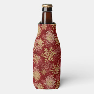 Snowflakes Pattern on Red Bottle Cooler