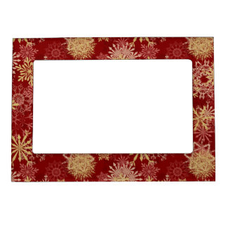 Snowflakes Pattern on Red Magnetic Frame