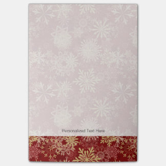 Snowflakes Pattern on Red Post-it Notes