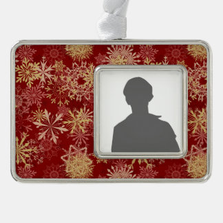 Snowflakes Pattern on Red Silver Plated Framed Ornament