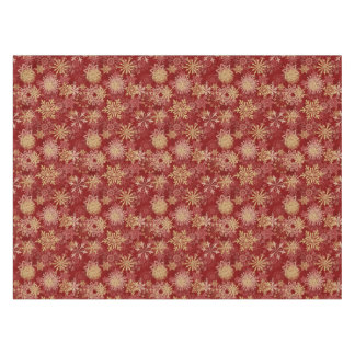 Snowflakes Pattern on Red Tablecloth