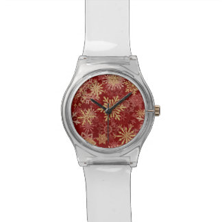 Snowflakes Pattern on Red Wristwatch