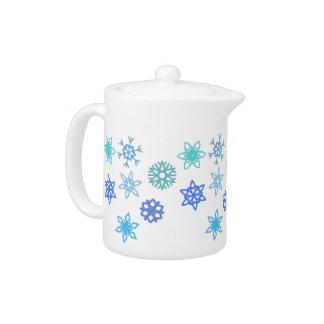 Snowflakes Pattern Winter Themed Teapot
