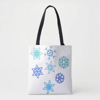 Snowflakes Pattern Winter Tote Bag