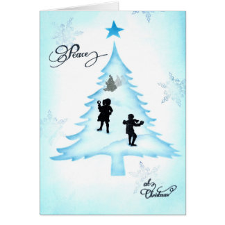 Snowflakes Peace at Christmas Card