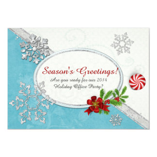Snowflakes & Peppermint Holiday OFFICE HOME PARTY 13 Cm X 18 Cm Invitation Card
