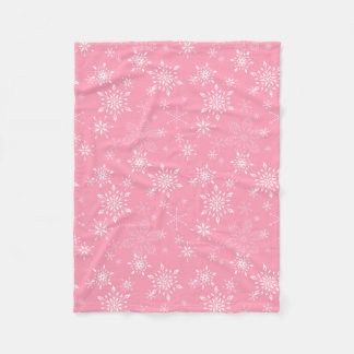 Snowflakes Pink Fleece Blanket