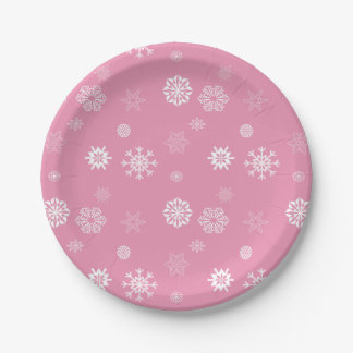 Snowflakes Pink Paper Plate