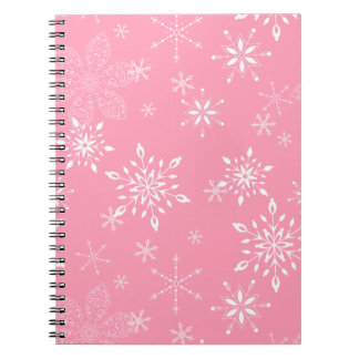 Snowflakes Pink Spiral Notebook