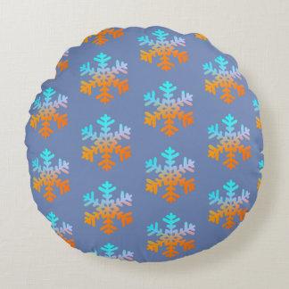 Snowflakes Polyester Round throw cushion