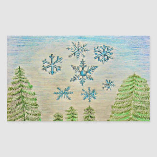 snowflakes rectangular sticker