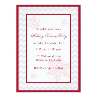 Snowflakes Red Chevron Holiday Party Invitations