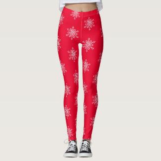 Snowflakes Red Custom Leggings