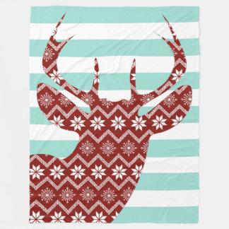 Snowflakes Red Deer Blue Stripes Blanket