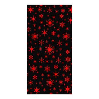 Snowflakes - Red on Black Custom Photo Card