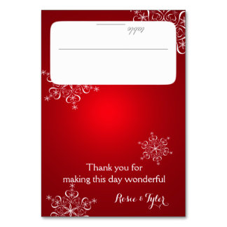 Snowflakes Red Seating Card