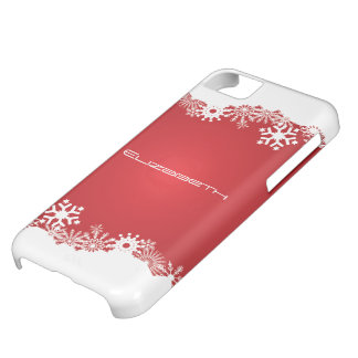 Snowflakes red white winter custom iPhone 5C case