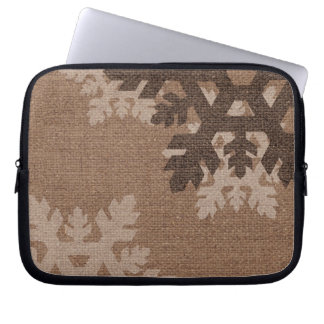 Snowflakes Rustic Style Faux Burlap Accessory Laptop Sleeves
