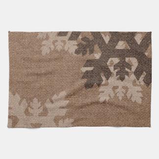 Snowflakes Rustic Stylish Faux Burlap Chic Holiday Tea Towel