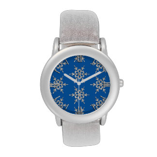 Snowflakes, silver crystals on cobalt blue wrist watches