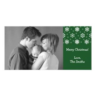 Snowflakes & Snow Christmas Photocard (Evergreen) Customized Photo Card