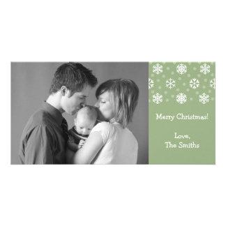 Snowflakes & Snow Christmas Photocard (Sage Green) Photo Cards