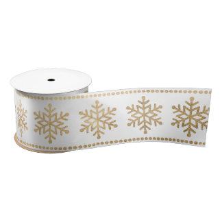 Snowflakes Stripes White Christmas Gold Satin Ribbon