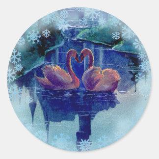 SNOWFLAKES & SWAN WREATH by SHARON SHARPE Round Sticker