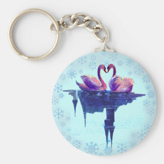SNOWFLAKES & SWANS by SHARON SHARPE Basic Round Button Key Ring