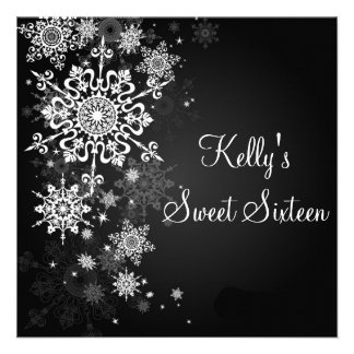 Snowflakes Sweet 16 Winter Wonderland Invitation