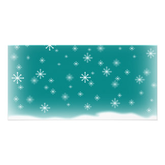 SNOWFLAKES TEAL CARD