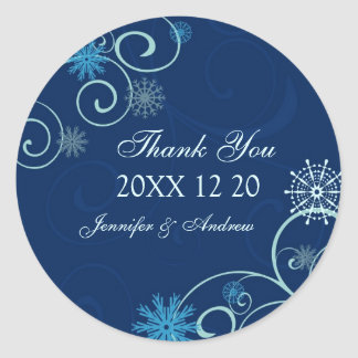 Snowflakes Thank You Winter Wedding Stickers