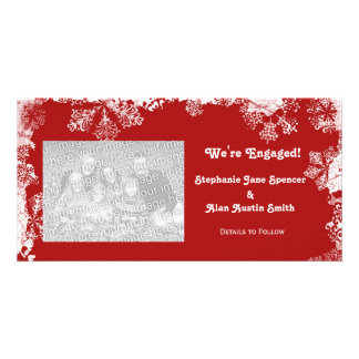 Snowflakes We're Engaged Photo Cards