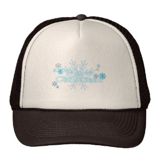 Snowflakes White Christmas Bag Mug Keychain Button Trucker Hat