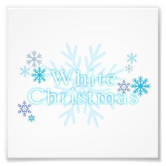 Snowflakes White Christmas Invitation Stamp Labels Photo