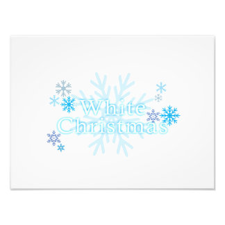 Snowflakes White Christmas Invitation Stamp Labels Photo Art