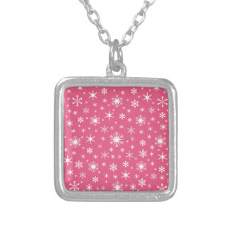 Snowflakes – White on Dark Pink Personalized Necklace