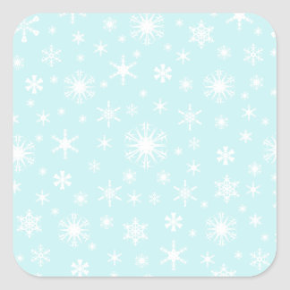Snowflakes – White on Pale Blue Stickers