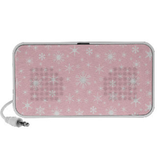Snowflakes – White on Pink iPhone Speakers